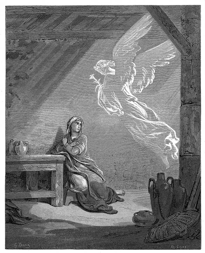 The Annunciation of Jesus by Gabriel
